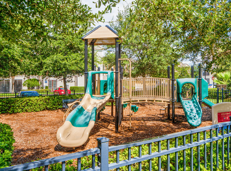 Outdoor playground surrounded by native landscaping