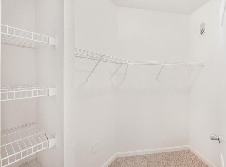 Spacious walk-in closet with carpet flooring and storage racks