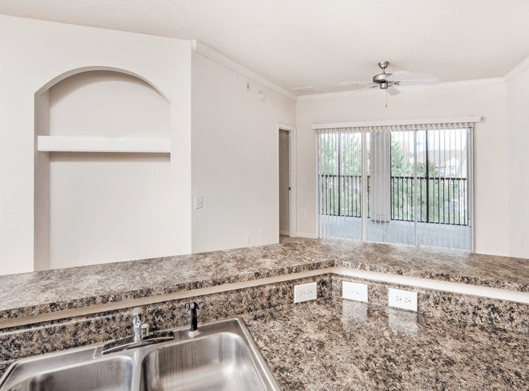 Quartz style kitchen counter tops with double basin sink