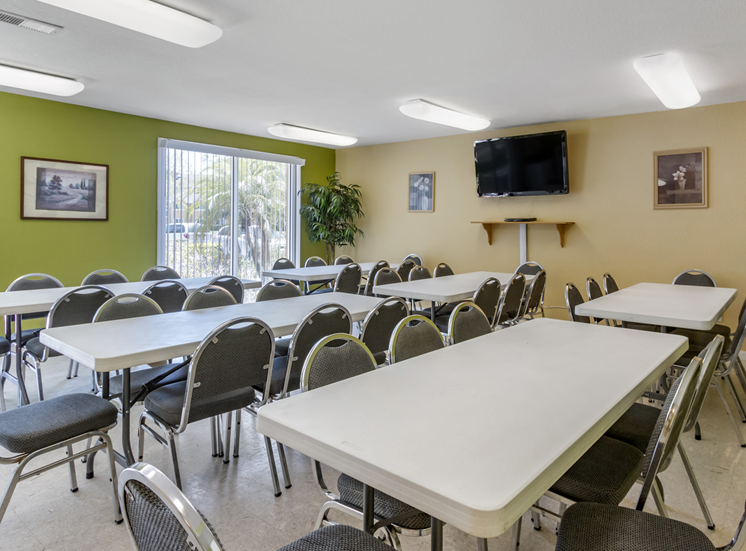 Clubhouse event room with wall mounted television