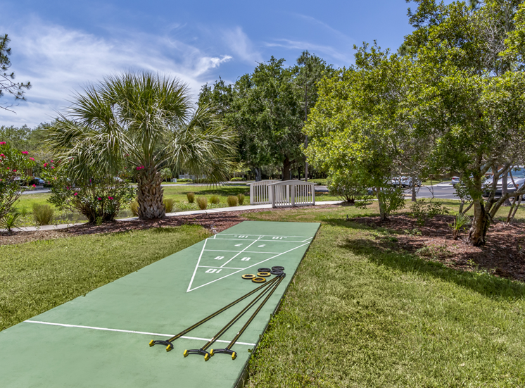 Outdoor games surrounded by native landscaping