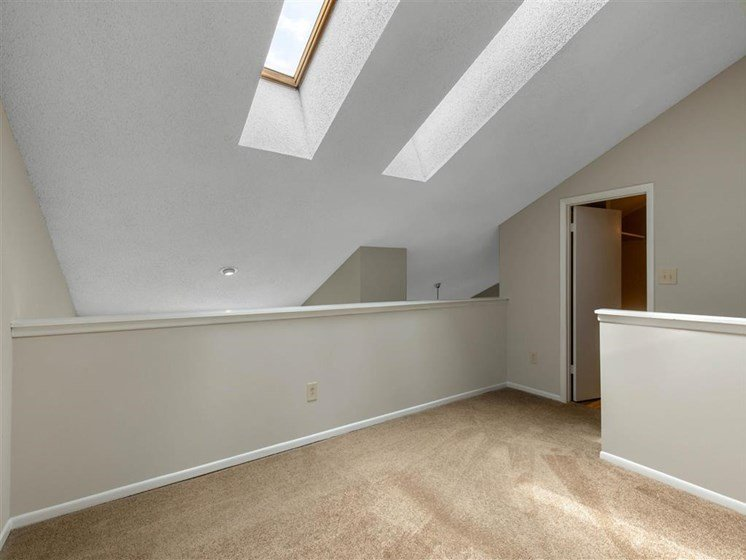 Carpeted Loft Area Under Two Skylights
