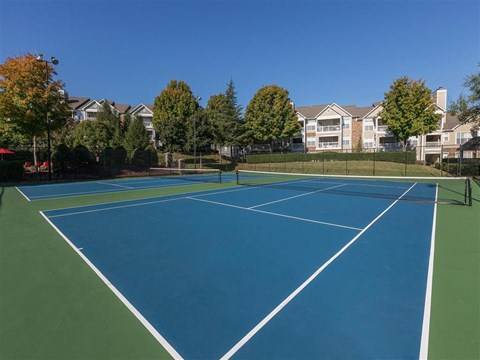 Fenced in Blue and Green Tennis Courts
