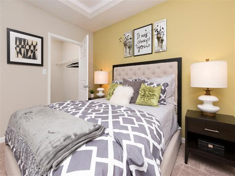 Model Bedroom with Bed and Nightstands
