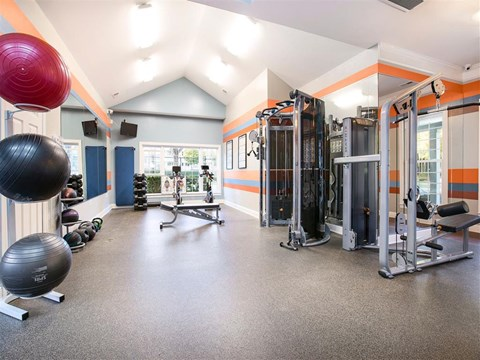 Bright Fitness Center with Exercise Equipment and Vaulted Ceilings