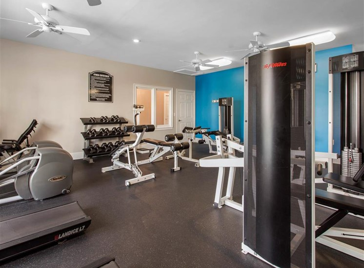 Bright Fitness Center with WIndows and Exercise Equipment and Blue Accent Wall