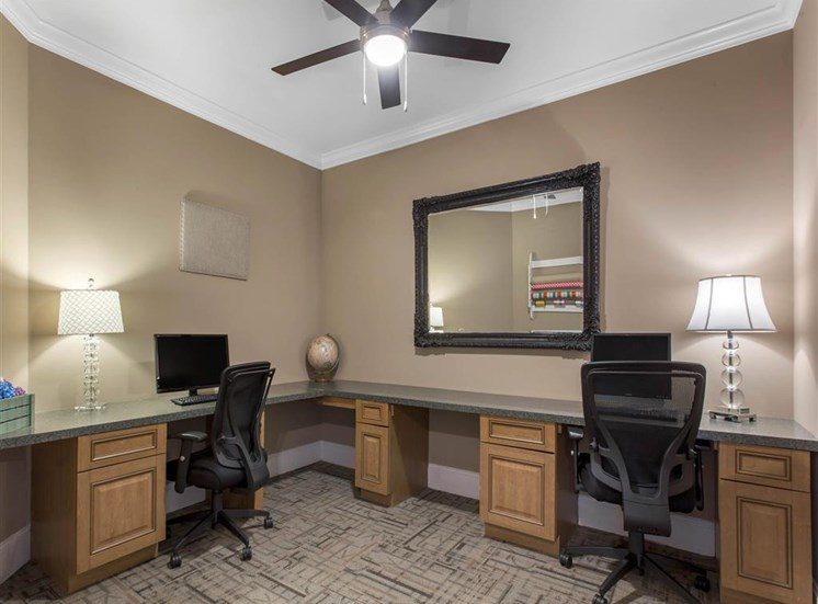Resident Business Center with Computers and Mounted Framed Mirror
