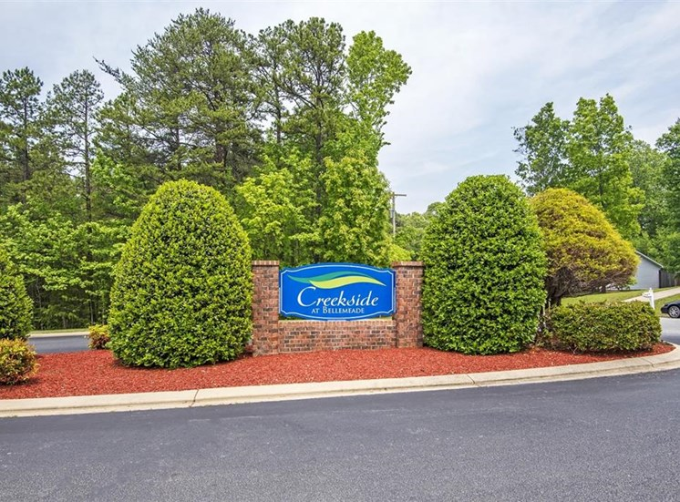 Community Entrance Sign with Shrubs