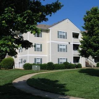Apartment Building Exterior with Walkway at Parkview Apartments, Huntersville, North Carolina