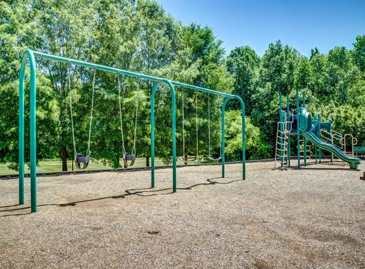 Green Playground with Swing Set on Mulch in Front of Treeline