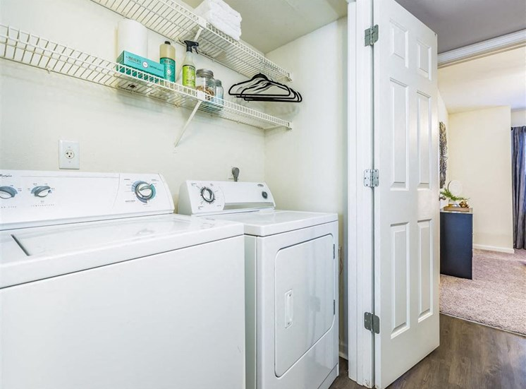Washer and Dryer Connection with Wire Shelf