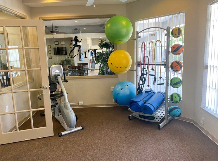 Fitness center with yoga balls, medicine balls, yoga mats, and resistance bands, and stationary bike looking out into the leasing office