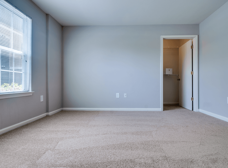 Bedroom with carpet flooring, large window for natural lighting, and walk-in closet