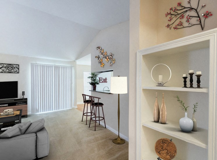Living Room with Virtually Placed Couch, Bar Stools and Decorations on  Built in Shelving