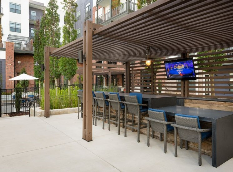 Pergola with Outdoor Bar and Mounted TV