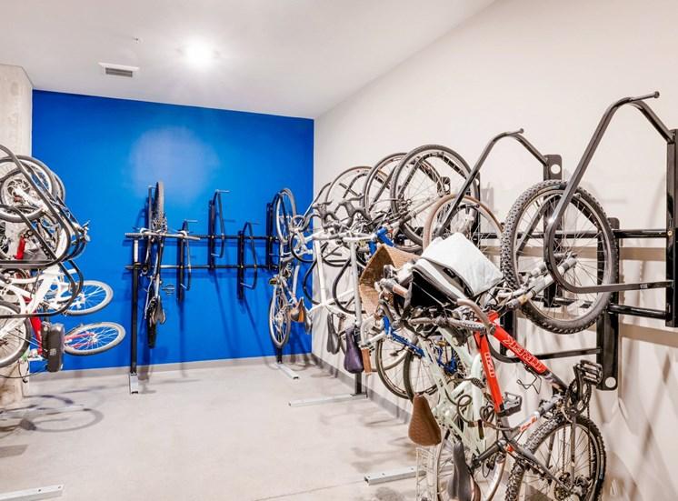 Bike Storage Room with Racks on the Wall with Bikes