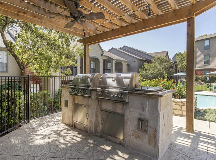 Summer Kitchen with Grilling Station Under Pergola