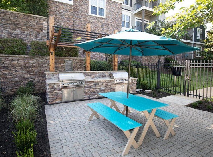 Picnic area by a community grill will an umbrella.
