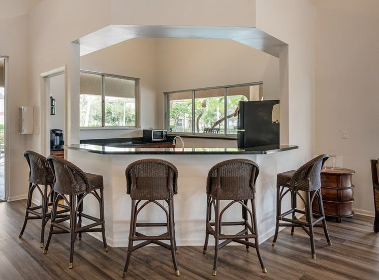 Clubhouse Kitchen with Barstools