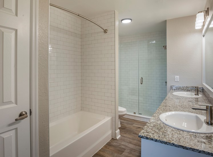 Bathroom with Grey Counters, Tiled Bathtub and Separate Walk in Shower with Glass Enclosure