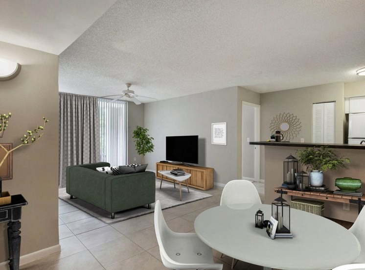 Virtual staged living room with entertainment center, tv, coffee table, decorative rug, and large couch in the background. Dining room with dining table and chairs, and two wall tables
