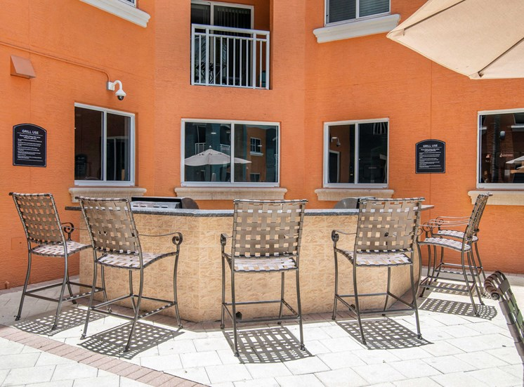 Summer Kitchen Grilling Area with Bar Height Patio Chairs