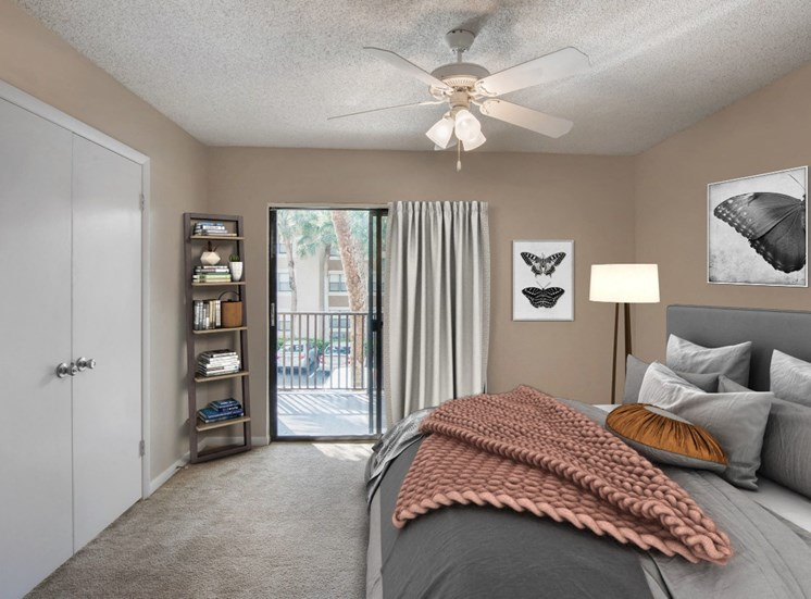 Carpeted Bedroom with Private Balcony and Virtually Placed Bed, Decorations and Shelf