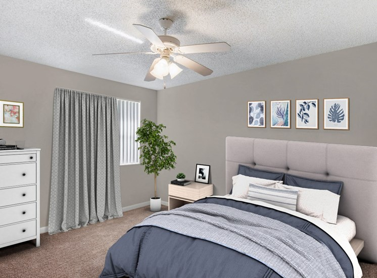 Carpeted Bedroom with Virtually Placed Bed, Decorations and Chest of Drawers
