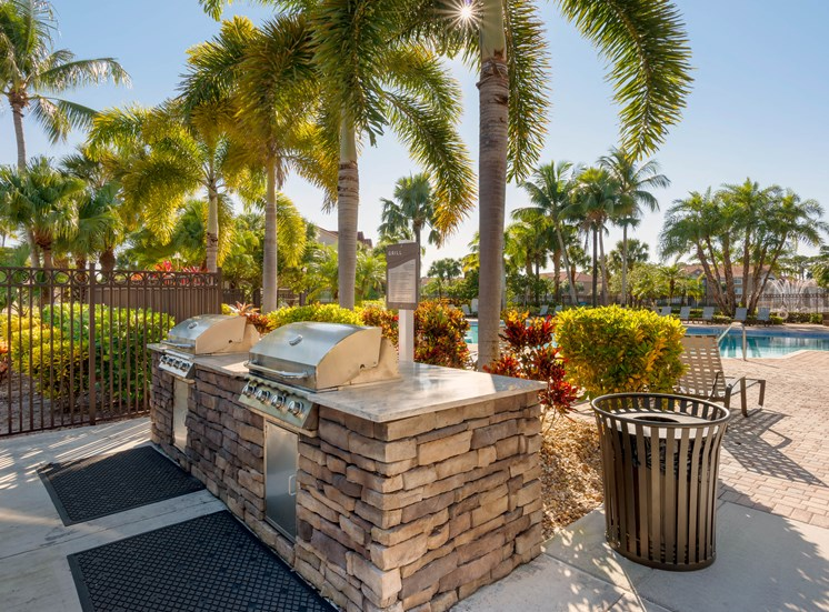 Outdoor grilling station surrounded by palm trees