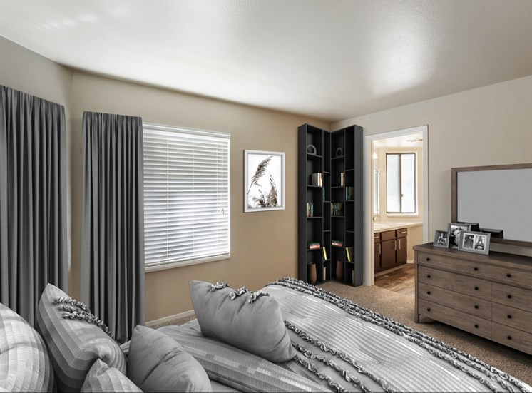 Carpeted Bedroom with Virtually Placed Bed, Dresser with Mirror and Decorations