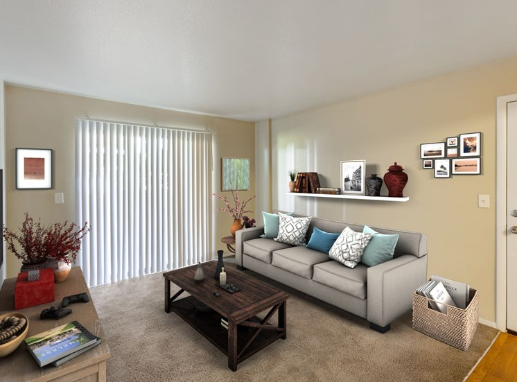 Carpeted Living Room with Virtual Placed Couch, Coffee Table and Decorations