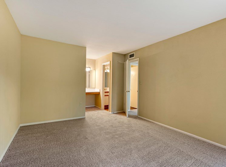 Carpeted bedroom with two tone paint and adjoined bathroom and closet