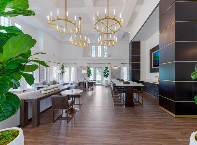 Clubhouse Seating Area with Contemporary Decorations Long Table and Chairs Dinette Tables with Chairs Decorative Trees and Gold Chandeliers