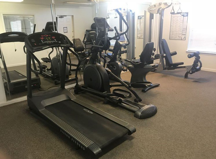 Fitness Center with Exercise Equipment at Falcon Pointe Apartments, Rosenberg, Texas