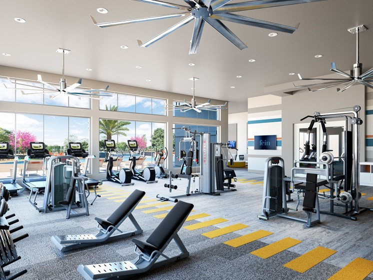 24 Hour Fitness Center at new apartments in Spring