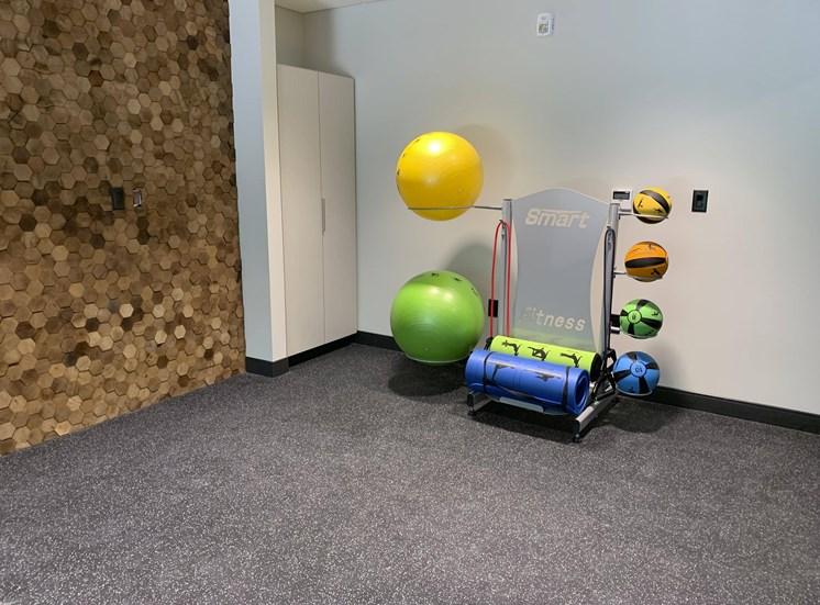yoga studio with yoga and medicine ball equipment