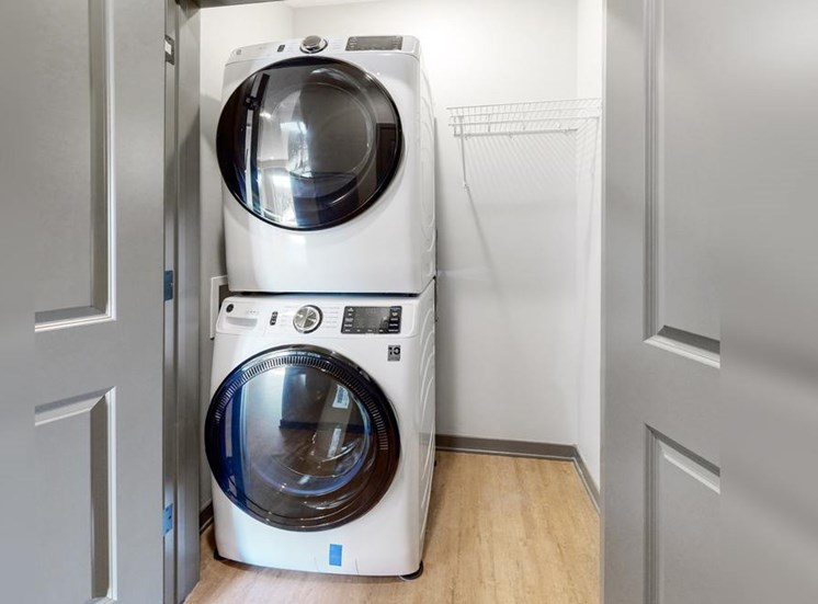 Washer and dryer available in unit in the Bliss floor plan at Haven at Uptown in Lincoln, NE