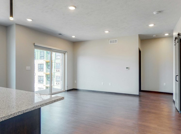 Spacious living-dining space at Haven at Uptown in Lincoln, NE
