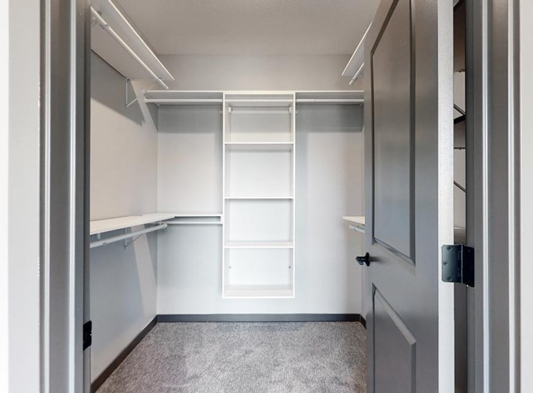 Large walk in closet that provides plenty of extra storage space for all of your belongings at Haven at Uptown in Lincoln, NE