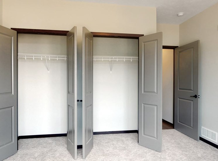 Closet space in the guest bedroom in the two bedroom Shine floor plan at Haven at Uptown in Lincoln, NE