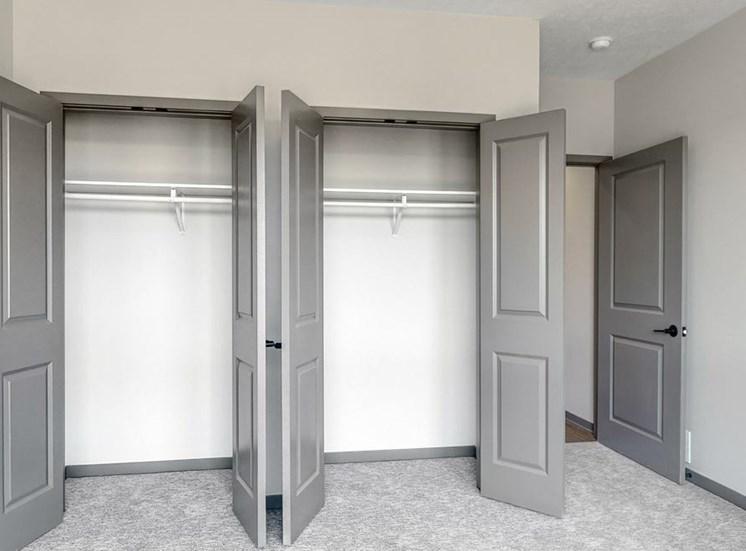 Double door closet in the second bedroom of the Shine floor plan at Haven at Uptown in Lincoln, NE