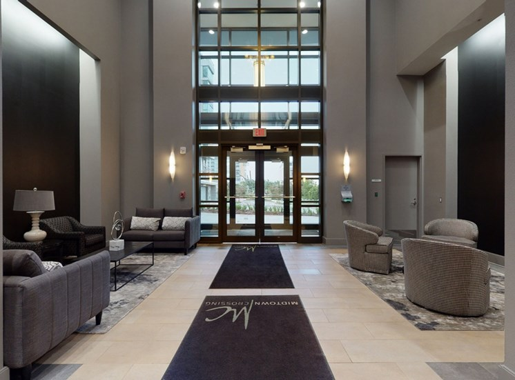 The modern and welcoming lobby at Midtown Crossing Apartments