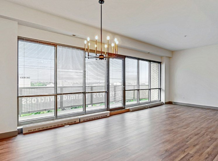Plenty of space to live, work, and entertain, in this 2 bedroom penthouse floor plan at Midtown Crossing Apartments Omaha