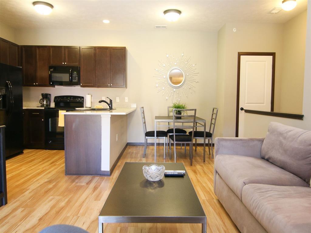 kitchen and living room at Villas at Wilderness Ridge in Lincoln Nebraska