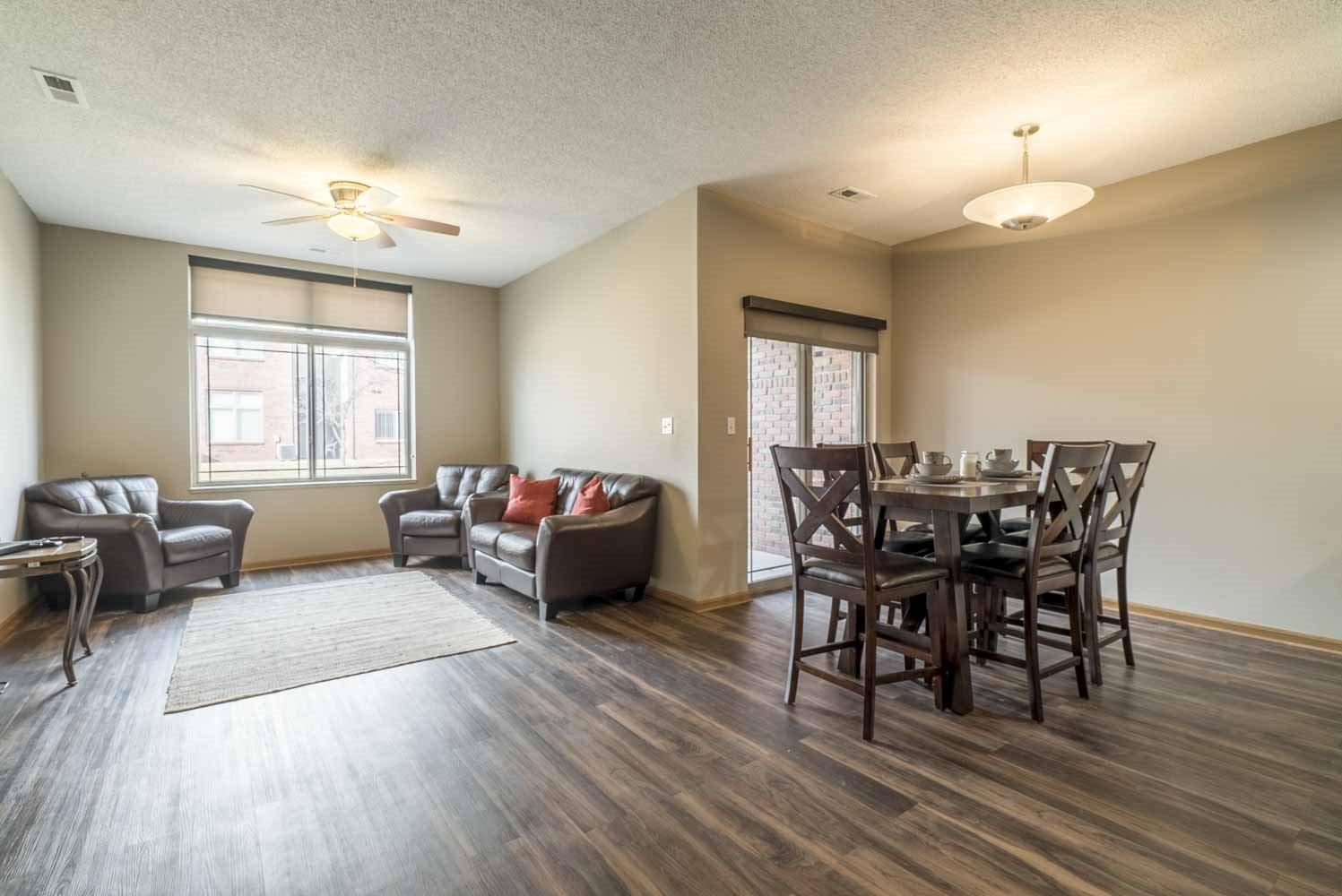 Townhome villa with hardwood-style floors at Southwind Villas in southwest Omaha in La Vista, NE, 68128
