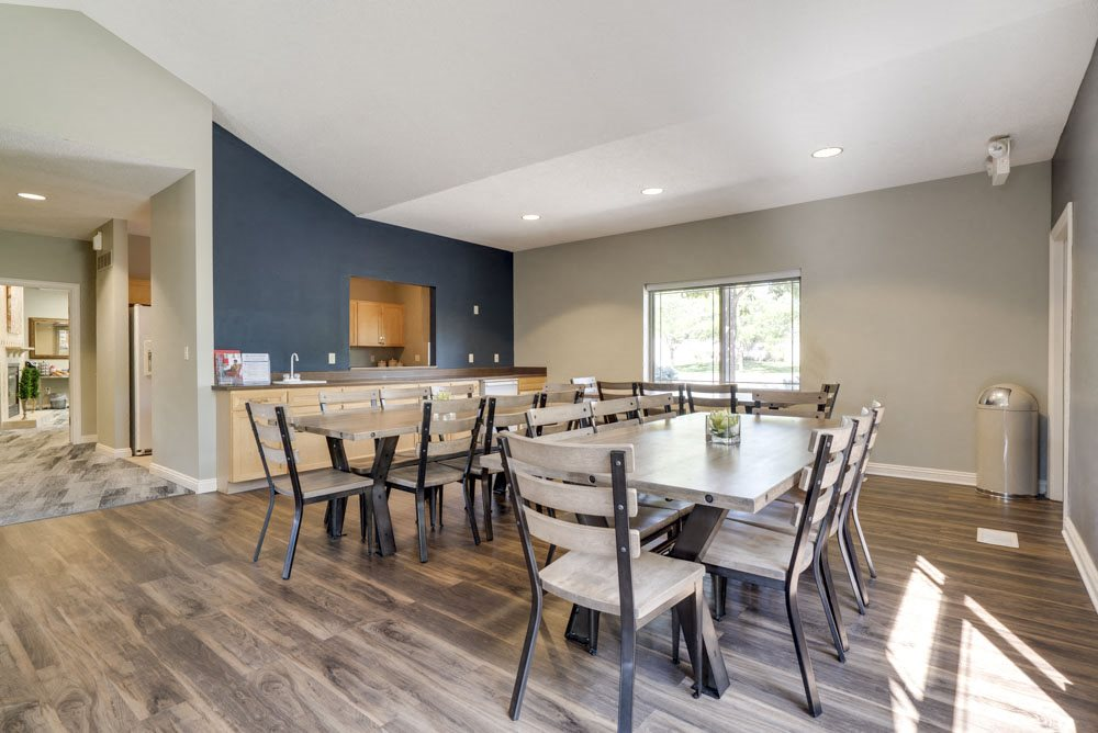 Tables in the clubhouse for resident functions at Southwind Villas in southwest Omaha in La Vista, NE, 68128