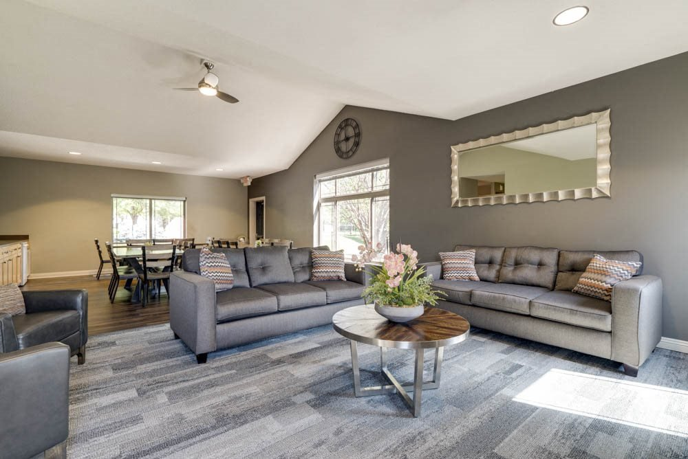 Clubhouse TV lounge and social spaces at Southwind Villas in southwest Omaha in La Vista, NE, 68128