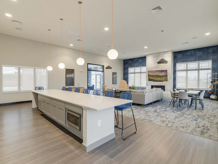 Spacious and modern clubhouse at The Flats at Shadow Creek new luxury apartments in east Lincoln NE 68520