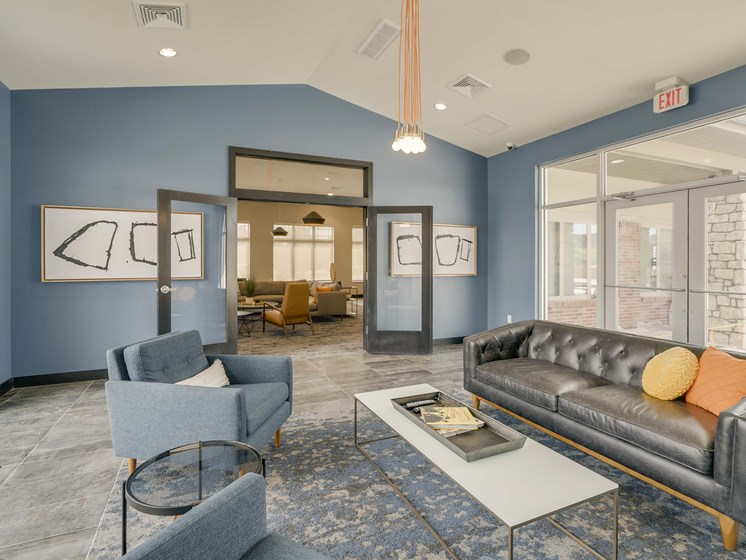 Comfortable clubhouse at The Flats at Shadow Creek new luxury apartments in east Lincoln NE 68520
