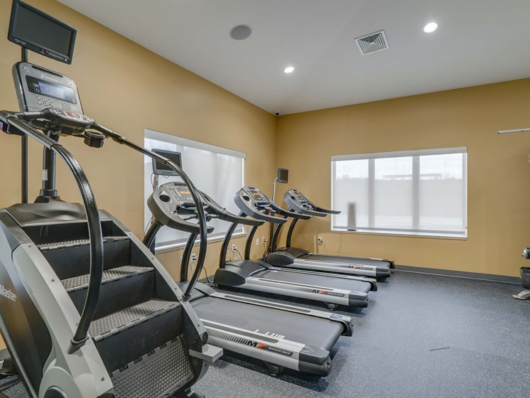 Fitness center at The Flats at Shadow Creek new luxury apartments in east Lincoln NE 68520